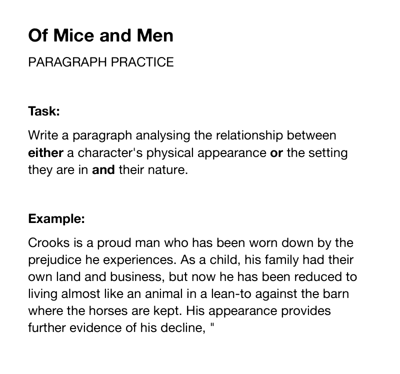 english language gcse of mice and men essay Of mice and men – exemplar essay of curley posted on may 17, 2015 by mrmorrisswa 0 part (a)  posted in aqa english literature, of mice and men, year 11 leave a reply cancel reply  mreanderson on the aqa gcse english language.